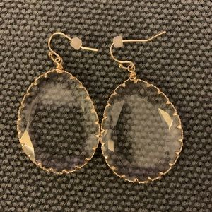 Anthro oversized clear drop earrings NWT